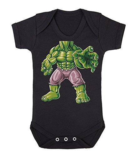 Hulk Body Baby Strampler Einteiler Hero Comics Superhelden Neuheit Babywear (6-12 Monate, schwarz)