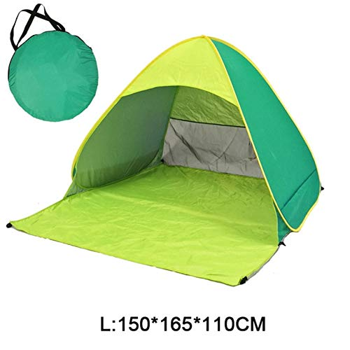 Mdsfe Beach Camping Tent Pop Up Automatic Open Family Ultralight Folding Tourist Fish Anti-UV Fully Sun ShadeTent 2-5 Persons XA164A-Yellow Green DL