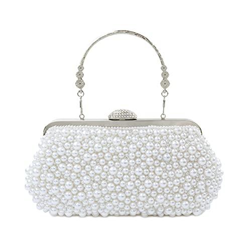 Topfive Mujeres de noche perla bolsa embrague con cadena de perlas Boda fiesta nupcial Handbag(blanco)