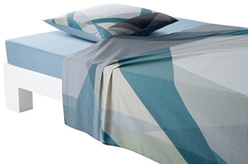 Anne de Solene ASLOPTIDP7 Drap plat Coton Bleu 180 x 290 cm