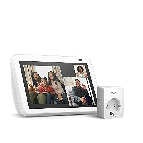 Der neue Echo Show 8 (2. Generation, 2021), Weiß + TP-Link Tapo P100 Smart Plug (WLAN-Steckdose), Funktionert mit Alexa