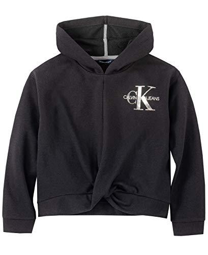 Calvin Klein Damen Girls' Pullover Hoodie Kapuzenpulli, Anthrazit Twist, 36