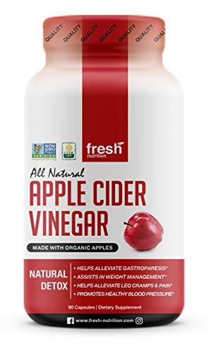 Organic Apple Cider Vinegar Capsules Pills for Weight Loss Strongest per Serving - Contains The Mother - Vegan Safe - Digestion & Weight Management - Leg Cramps/Pain- Unsettled Stomach & Sore Throats