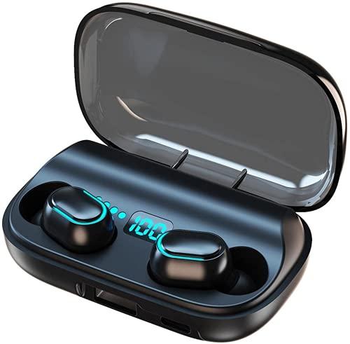 True Wireless Auricolari Bluetooth 5.0 con custodia di ricarica e display digitale a LED (nero)