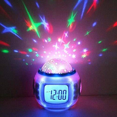 LKU Wekker Wekker snooze sterrenhemel kinderen wekker babykamer kalender thermometer nachtlampje projector