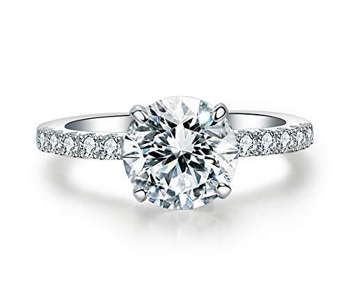 Precision Cut Zircon 2 Ct Round-cut Halo Bridal Ring 925 Silver Accented...