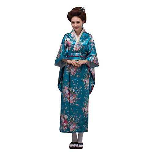 THY COLLECTIBLES Women's Silk Traditional Japanese Kimono Robe/Bathrobe / Party Robe (Lake Blue)