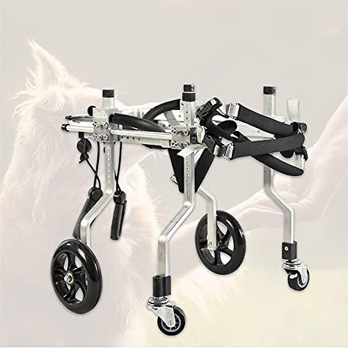 HXSM 4 Ruedas Silla De Ruedas para Perros Carrito De Rehabilitación De Extremidades Traseras Carro para Perros Discapacitados Ciclomotor Scooter para Mascota - Aleación De Aluminio 2-6Kg