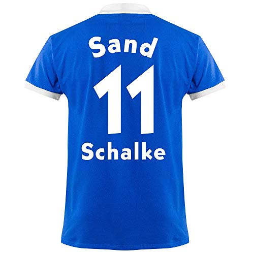 Club Licensed FC Schalke 04 Sand 11 Retro Trikot 1950's (Retro Flock Beflockung) - S