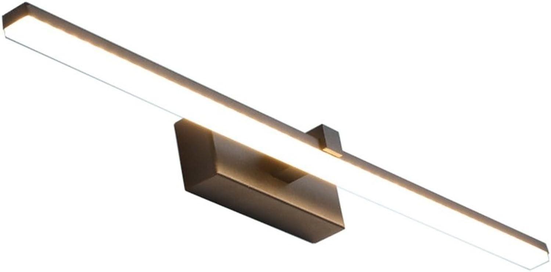 Einfach Wei Nordeuropa LED energiesparende Spiegel Frontleuchte Wc Badezimmer Schminkspiegel Kommode Anti-fog Wasserdicht spiegel lichter Spiegel lampe (schwarz warmes licht) (gre   100cm 20W)