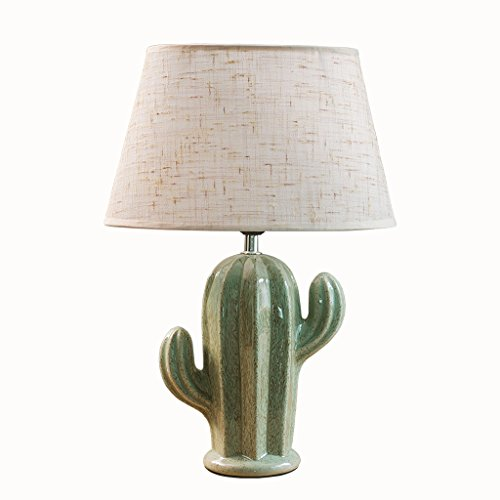 WSHFOR Tischlampe Kaktus Keramik grün Nachttischlampe Wohnzimmer Schlafzimmer Studie Lesepult Lampe e27 moderne kreative Skulptur Design, Tuch Schatten