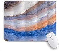 PATINISAマウスパッド 創造的な抽象的な手描きのパターンアートプリントブルーオレンジブラウン ゲーミング オフィ良い 滑り止めゴム底 ゲーミングなど適用 マウス 用ノートブックコンピュータマウスマット