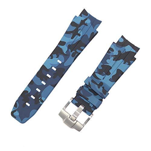 ROUHO 21Mm Camouflage Watch Strap Accessoires Sind Weich Und Wasserdicht Für Rolex Submariner Deep Sea Sea-Dweller Ancon Series-Blau