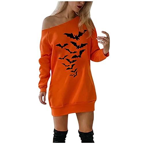 NISOWE Camisa para mujer, mini vestido frío, hombro, calabaza, disfraz de Halloween, Negro , S