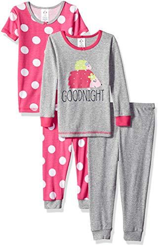 GERBER Baby Girls' 4-Piece Pajama Set, Llama, 12 Months