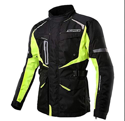 Vestes De Moto pour Hommes Équipement De Protection Collection De Vestes Respirantes Confortables Femme Veste De Moto Réfléchissante Imperméable,Green-XXXL