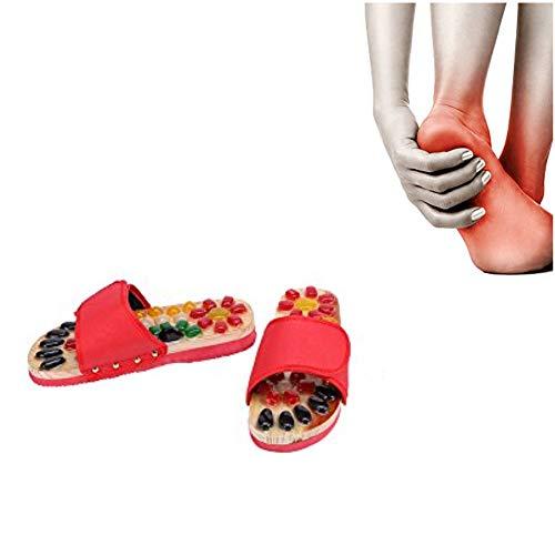 Zapatos de masaje Guijarros de colores Zapatos de masaje de piedra natural Zonas de reflexología podal Acupresión para el cuidado de los pies Relajación en el hogar(39-Red)