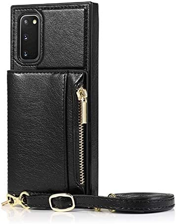 Case for Samsung Galaxy S20, Zipper Wallet Case with Credit Card Holder/Crossbody Long Lanyard, Shockproof Leather TPU Case Cover for Samsung Galaxy S20 (Color : Black)