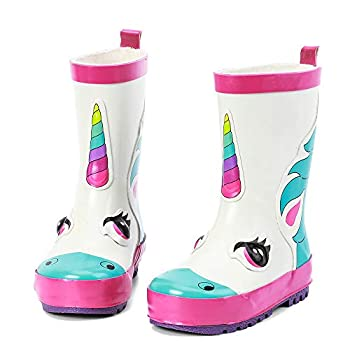 ALEADER Kids Waterproof Rubber Rain Boots for Girls Boys & Toddlers with Fun Prints & Handles White/Unicorn 10 M US Toddler