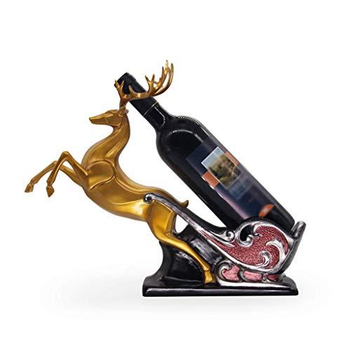 Estante de Vino Restaurante Reno Resina Estante de Vino Artesanía Mueble de televisión Sala de Estar Inauguración de la casa Regalo de Boda Bar Estante de Vino Vino de champán (Color: Dorad