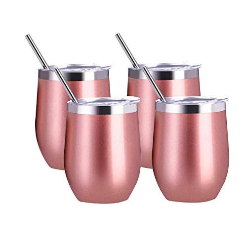 Kuinayouyi Vaso/Taza de Vino Sin VáStago de Acero Inoxidable de 12 Onzas, 4 Vasos, con Vaso de Vino TéRmico Aislado con 4 Pajitas con Tapas para Café