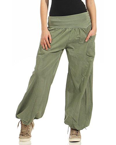 Pantaloni Estivi ZARMEXX Bloomers da Donna Pantaloni Estivi Pantaloni Aladdin Pantaloni da Spiaggia Pantaloni Larghi di Cotone (Esercito, 40-46)