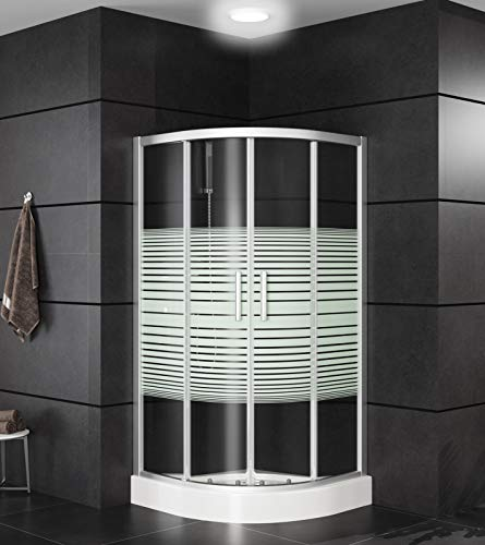 Duschkabine Duschabtrennung Eckdusche, Glas, Schiebetür mit Tasse und Griffen, Größe: 80 x 80 x 195cm, Farbe: Viertelkreis Dusche, mit Streifen