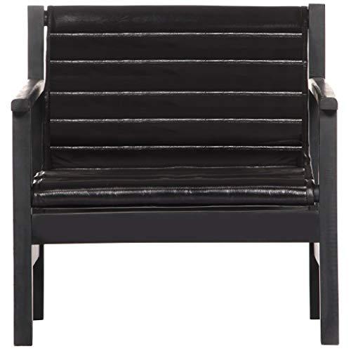 Tidyard Relaxsessel Schwarz Echtleder Recliner Chair Vintage Style Lounge Chair Upholstered Leather Armchair Recliner Chair Armchair Black Genuine Leather Wood Frame
