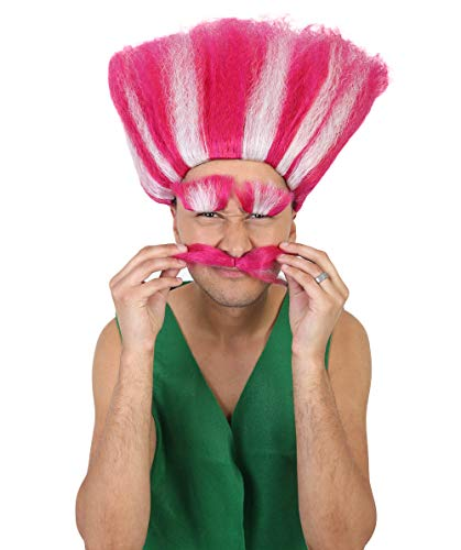 Halloween Party Online HPO King Troll Wig with Eyebrows and Mustache, Red/Pink with White Stripes, Kids and Adult Sizes HM-110