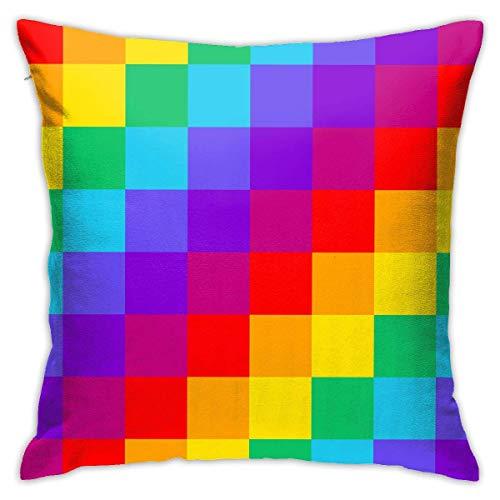 EU Throw Pillow Covers Rainbow Checkerboard Polyester Cushion Square Cases Pillowcases Sofa Home Decor 45cm x 45cm