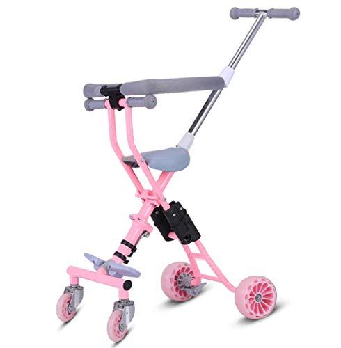TX Carro Triciclo para Niños Ligero Plegable 4 Ruedas Amortiguable,Rosado