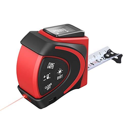 Metri a Nastro Laser, FLOUREON 2 in 1 Metri a Nastro Laser Digitale con Misurazione Laser 30m   98ft, Misura Nastro 5m   16ft, Protezione Antipolvere e IP54, Carica USB, Display LCD