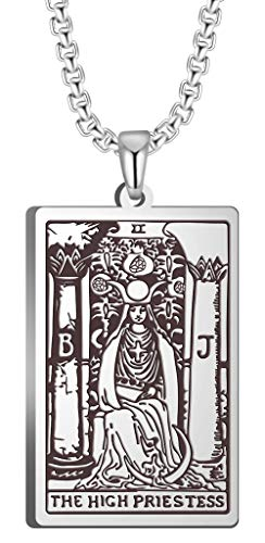 VASSAGO The First Set of Cards in The Tarot Pendant Necklaces The Major Arcana Tarot Cards Stainless Steel Jewelry (The HIGH Priestess, Silver)