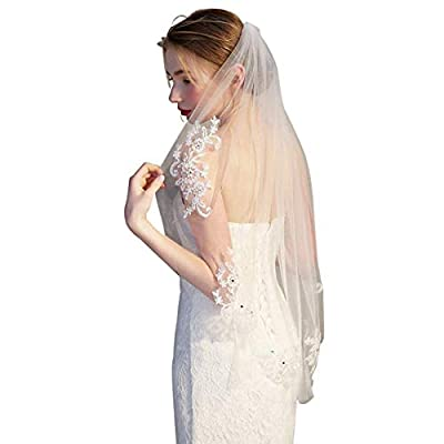RULT 1 Tier Lace Appliques Bridal Veil Beaded Tulle Wedding, Ivory, Size 90Cm