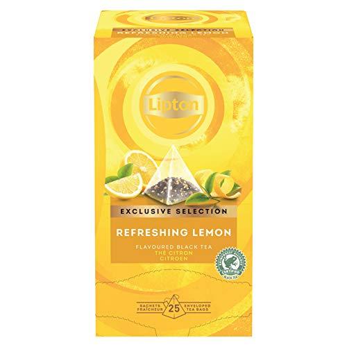 Lipton Zitrone Schwarztee Pyramidbeutel, 1er Pack (1 x 25 Teebeutel)
