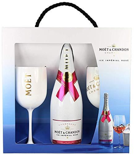 Moet & Chandon Ice Imperial Rosé Champagner Geschenk Set mit 2 Gläsern (weiss / gold) und einer Champagner Flasche (1 x 0.75 l)