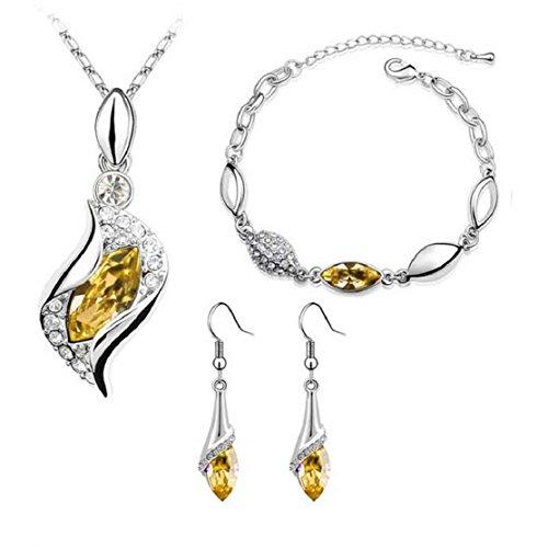 nurbo de la mujer colgante de cristal pendientes collar de cadena muñeca pulsera joyería Set, Dorado, Amarillo (Gold Yellow)