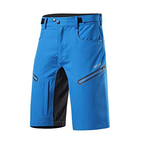Arsuxeo - Pantaloncini da ciclismo da uomo, vestibilità larga, con cintura traspirante, Uomo, Azzurro, L