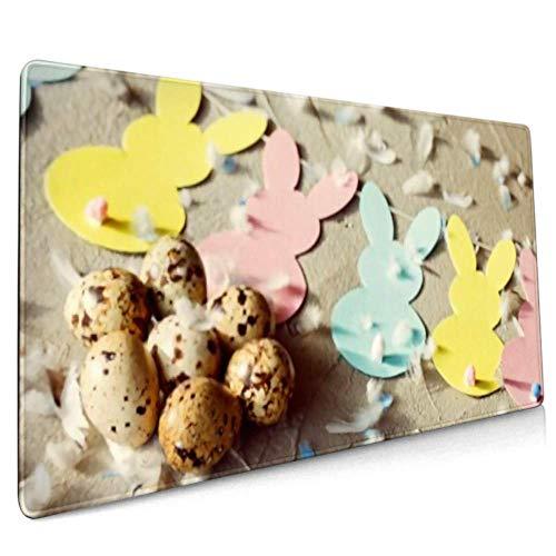 Long Mousepad (35.5x15.8in) Ostern Zusammensetzung Wachteleier Bunny Garland Schreibtisch Pad Tastaturmatte, rutschfeste Basis, wasserdicht, für die Arbeit