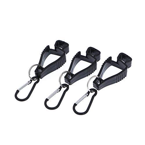 Handschuh Clips (3 Stück) Tarp Clip Grabber Halter Glove Guard sichert Arbeit Handschuh, Schutzhandschuhe, Arbeitshandschuhe vom Verlus (Karabinerhaken Schwarz)