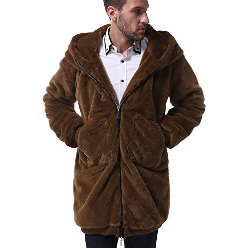 Mens Sherpa Fleece Hoodie Winter Long Jacket Zipper Thick Cardigans Coat Outwear Brown