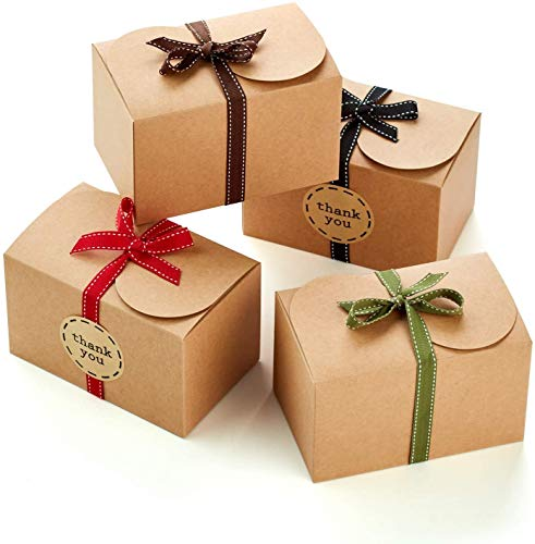 Hayley Cherie - Gift Rustic Treat Boxes with Ribbons and Thank You Stickers (20 Pack) - 6.5 x 4 x 4 inches - Thick 400gsm Card - for Goodies, Candy, Parties, Christmas, Birthdays, Weddings (Kraft)