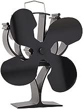 New designed 4 Blades Heat Powered Stove Fan for Wood / Log Burner/Fireplace(Black)