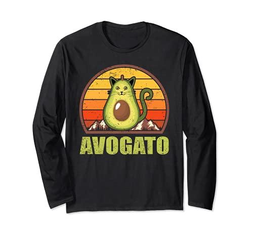 ヴィンテージ レトロ アボカド フルーツと猫愛好家 ギフト アボガート 長袖Tシャツ