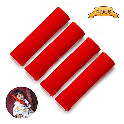 Kitchen-dream Cojín de la cubierta del cinturón de seguridad del asiento del automóvil, Cojín del hombro de la correa del cinturón de seguridad para adultos y niños (Rojo)