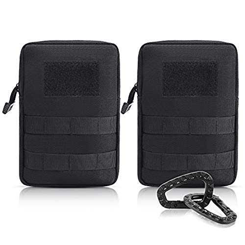 FUNANASUN 2 Pack Molle Pouches - Tactical Compact Water-Resistant EDC Pouch (2 Black)