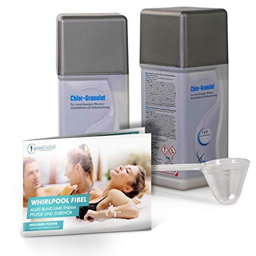 POOL Total Spar-Set SpaTime Chlor-Granulat 2X 1,0 kg inkl Messbecher und DIN A3-Poster zur Wasserpflege