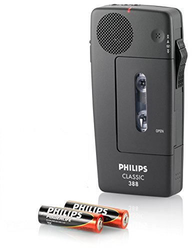 Philips Pocket Memo LFH0388 Analoges Mini-Kassetten Diktiergerät (Schiebeschalter, Automatische Aufnahmeaussteuerung, Sprachaktivierung, LED-Anzeige, Briefende-Ton), Anthrazit