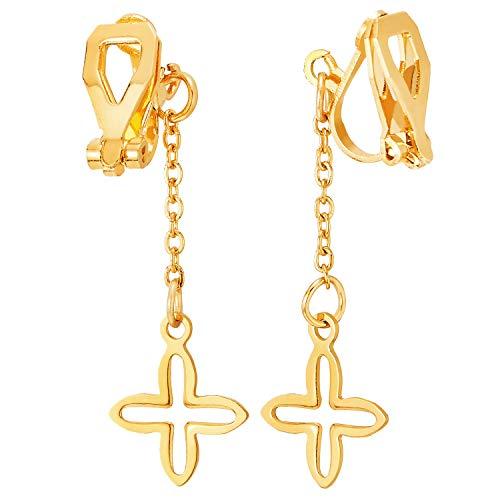 Paar Damen Edelstahl Goldfarben Ohrringe mit Lange Gliederkette Offenes Kreuz, Non-Piercing Clip-On