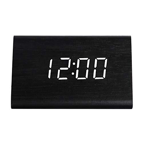 TQJ Despertadores Digitales Silencio luminoso despertador electrónico de alarma inteligente de control por voz inducción de la sala de noche Despertador digital del recorrido reloj despertador Despert